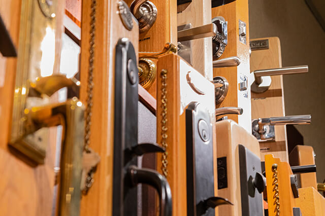 Door handles, locks and hardware on display in showroom